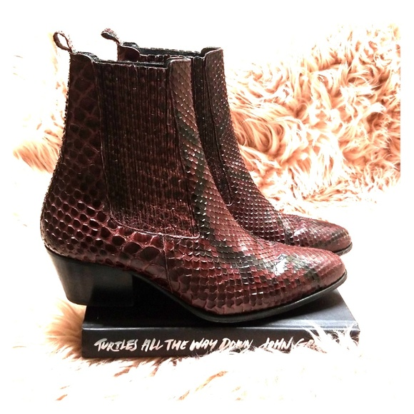 e015a49448bb0 Sandro Shoes | Red Python Ankle Boot | Poshmark